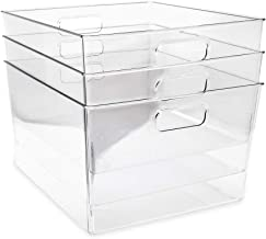 Isaac Jacobs 3-Pack XL Clear Storage Bins with Handles, Plastic Organizer for Office, Home, Kitchen, Pantry, Closet, Kids ...