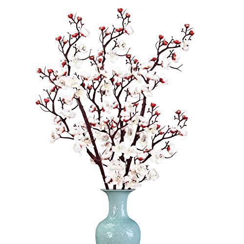 Sunm Boutique 2 Pack Plum Blossom Artificial Flowers Simulation Flower Table Decoration Accessories Party Beach Theme Decorations