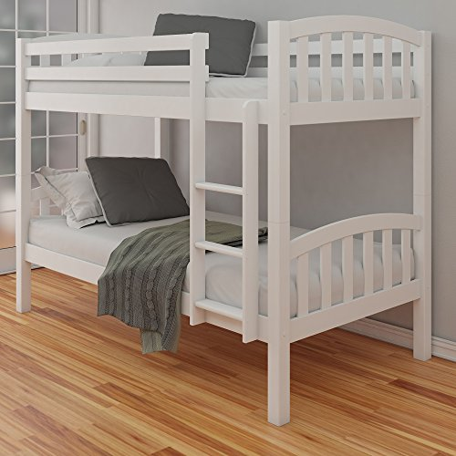 White Pine Bunk Bed, Happy Beds American Wood Traditional Twin Sleeper - 3ft Single (90 x 190 cm) with 2 x Memory Foam Mattresses Included