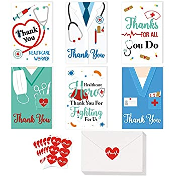 Thank You Card 36 Pack Healthcare Workers Thank You Card Doctor Gifts Nurse Gifts Medical Appreciation Card for Nurses Doctors EMTs Essential Workers Gift Card Set with Envelopes and Stickers