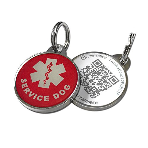 PetDwelling Service Dog QR Code Pet ID Tag Links to Online Profile w/Google Location Stamp (White Adv)