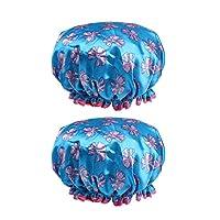2個セット シャワーキャップ 防水帽 入浴キャップ バスキャップ 帽子 お風呂 シャワー用 全7色 - 濃紺