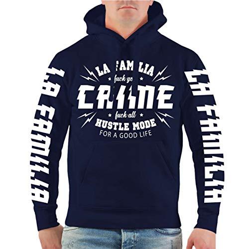 Life Is Pain Männer und Herren Kapuzenpullover La Familia Crime (mit Rückendruck) Größe S - 4XL