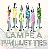 1 LAMPE LAVE DISCO PAILLETTES BULLES 35 CM LUMINEUX DECO