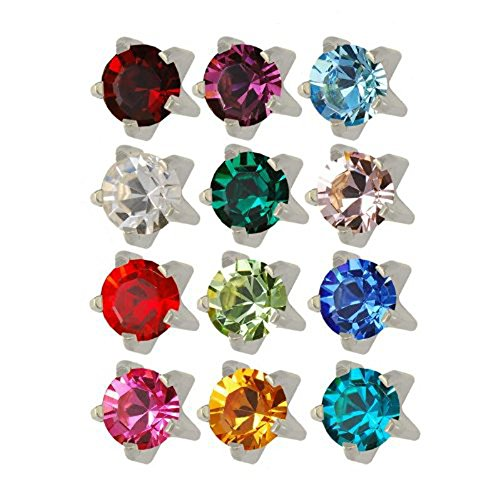 Studex Surgical Steel 3mm Regular Size Ear Piercing Studs in Prong Setting, 12 Pair Mixed Colors ear piercing gun kit cartilage earring stud hypoallergenic surgical steel baby for women