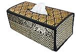 Funda para caja de pañuelos de trenzado de caña hecha con materiales sostenibles y ecológicos y un exquisito ribete de seda. (B Negro)