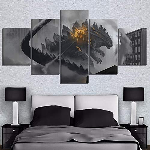 GHDE& 5 Piezas Negro Pinturas de Arte de Pared Godzilla Rey de El Película Monstruos Póster Ilustraciones Pinturas De Lona Mural para Decoración del hogar