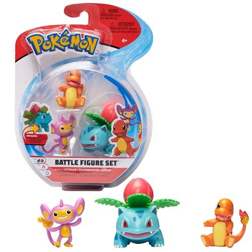 Pokémon Figuras de Batalla 3-Pack | Ivysaur Charmander & Aipom 5 cm | Última Ola 2021 | Con Licencia Oficial de Pokemon