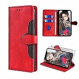 xinyunew Lederhülle für LG K42 Hülle mit 2 Stück Panzerglas Schutzfolie, PU Leder Flip Wallet Handyhülle für LG K42 Handyhülle-Rot