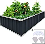 KING BIRD Extra-Thick 2-Ply Reinforced Card Frame Raised Garden Bed Galvanized Steel Metal Planter Kit Box Green 68'x 36'x 12' with 8pcs T-Types Tag & 2 Pairs of Gloves (Grey)