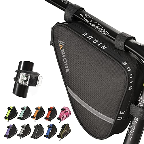 NIGUE Bike Bag, Sport Bike Frame Storage Bag Bicycle Pouch Triangle Bicycle Bag Strap-On Adjustable Install Position Tool Accessories Pack for Bike Road Mountain Cycling (Black)