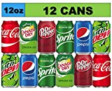 12 Cans Soda Drinks Variety Pack, Coke, Pepsi, Dr Pepper, Mountain Dew, Sprite and Canada Dry Ginger Ale Soft Drinks, Mini Fridge Organizer Can Restock Kit