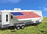 Leaveshade RV Awning Fabric Replacement Camper Trailer Awning Fabric Super Heavy Vinyl Coated Polyester 15'3''(Fit for 16' Awning)-USA Flag (Custom Looking)