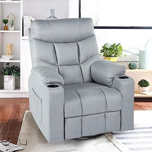 Best Esright Grey Fabric Massage Recliner Chair 360 Degrees Swivel Heated Ergonomic Lounge Chair