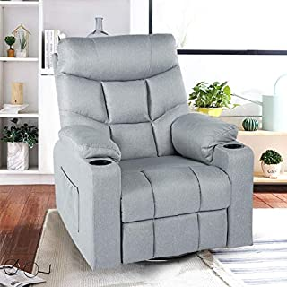 Esright Grey Fabric Massage Recliner Chair 360 Degrees Swivel Heated Ergonomic Lounge Chair