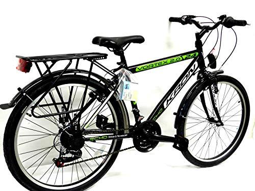 KRON 26 Zoll Fahrrad Herrenrad Jungenfahrrad City Bike 21 Gang Shimano Schwarz Grün neu - 2