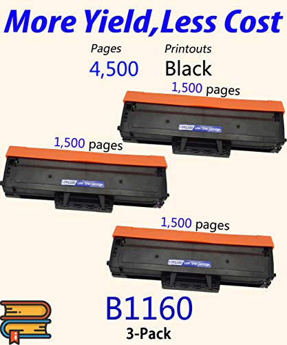 (3-Pack, 3X Black) Compatible Dell B1160w 1160 YK1PM 331-7335 HF44N HF442 Toner Cartridge Used for Dell B1160 B1163w B1165nfw Mono Laser Printers, by ColorPrint