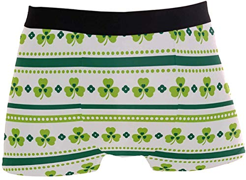 OMAJIG Herren Fresh Stripe Kleeblatt Kleeblatt St. Patrick's Day Hoher Bund Boxershorts Unterwäsche Stretch Trunk (Grün-Weiß) Gr. L, einfarbig