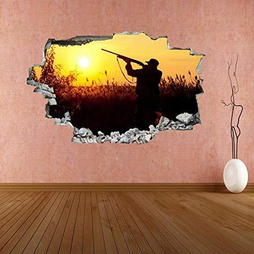 ioljk Pegatinas de Pared 3D Caza Sunset Hunter Mural Calcomanía Decoración de Oficina en casa50x70cm