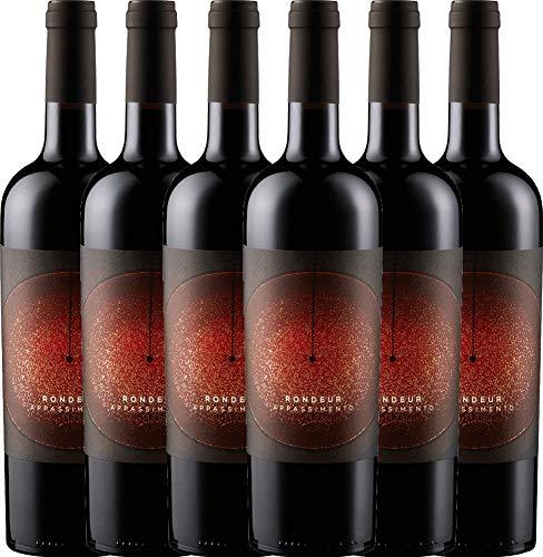 VINELLO 6er Weinpaket Rotwein - Rondeur Appassimento 2018 - La Grange mit Weinausgießer | halbtrockener Rotwein | französischer Wein aus Languedoc | 6 x 0,75 Liter