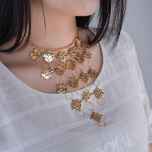 Coin Necklace Fabal Bohemian Flower Ethnic Metal Turkish Gypsy Boho Beach Choker Bib Choker Statenment Necklace Women Tribal Jewelry (Gold)