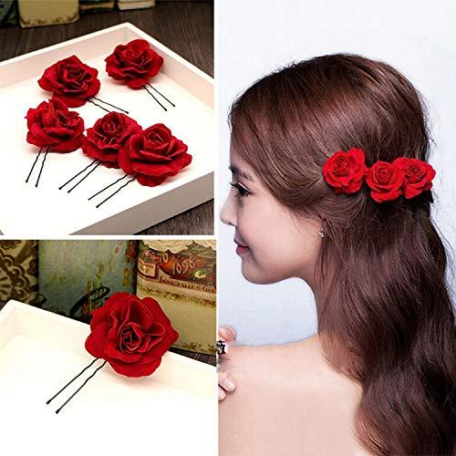 Kisslife Elegant Red Rose Bridal Hair Clips 6 Pack Hair Pins Wedding Women and Girls Hair Accessories Bridesmaids Headpiece Wedding Hairpin (Red Rose Hair Clip)