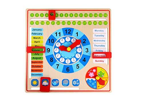 Tooky Toy - Reloj Calendario de Madera - Juguete Educativo a Partir de 3 años