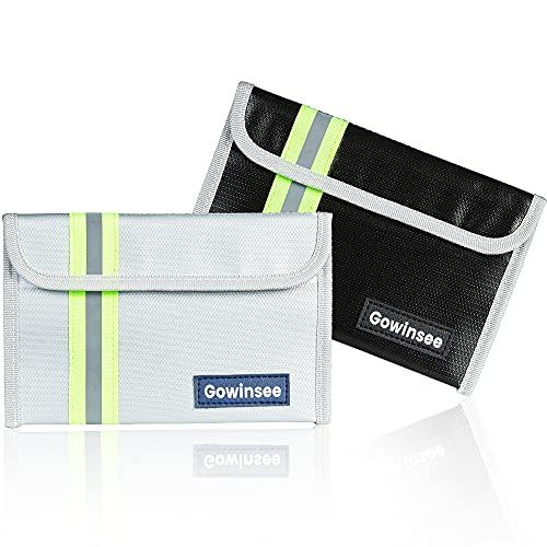 2 Stück Feuerfeste Tasche, Kleine Feuerfeste Geldtasche (12,7 x 20,3 cm), Feuerfeste Brieftasche, Bargeldschutztasche - Wasserfeste Sichere Tasche für Wertsachen