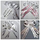 50 Personalized Ribbons for Bridal Shower Wedding Party Favors or Baby Showers - Custom Made Cut Ribbons
