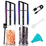 【2021 Newest】 USB Rechargeable Electric Salt and Pepper Grinder Set XinBaoLong Gravity Salt and Pepper...