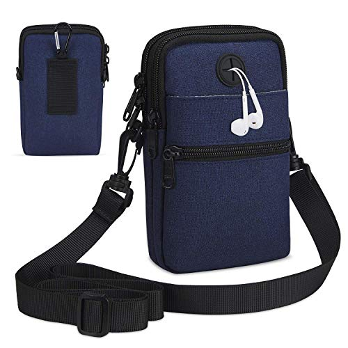 LIVACASA Handtasche Herren Umhängetasche Klein Herrentasche Jungen mit Vielen Fächern Schultertasche Verschleißfest Herrentasche Gürteltasche Outdoor Hüfttasche Handytasche Blau