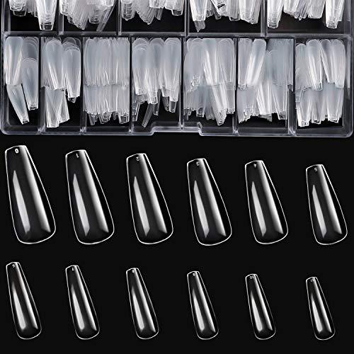 Modelones 600PCS Coffin Nails Long Fake Nail Tips Clear Full Cover Ballerina Acrylic False Nails 12 Sizes with Case for Acrylic nail/Gel Nail Polish/Poly Nail Gel Nail Salons and DIY Nail Art
