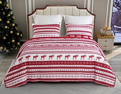 ENCOFT Quilt 3 Teilig Tagesdecke 230cm * 250cm 2 Kissenbezug 50 * 70cm Baumwolle Bettüberwurf Steppdecke Patchwork Bettdecke Kinder (230 x 250 cm, Rot)