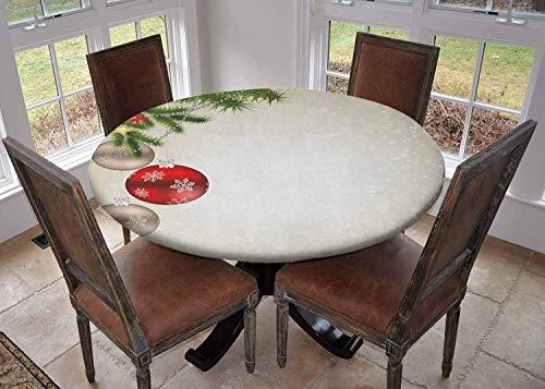 Ronde tafelkleed keuken decoratie, tafelblad met elastische randen, diverse lantaarns Opknoping van Blossoming Sakura takken Donker Koraal Wit Lichtgeel, Kleurrijk tafelkleed