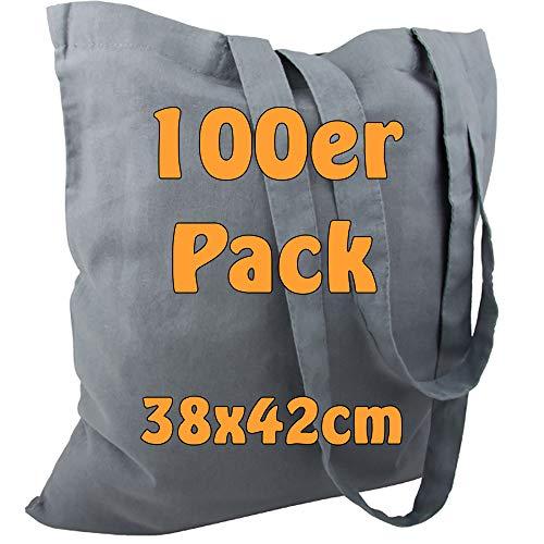 Cottonbagjoe Baumwolltasche Jutebeutel unbedruckt mit Zwei Langen Henkeln 38x42cm (Grau, 100 Stück)