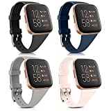 4 Pack Silicone Slim Bands Compatible with Fitbit Versa 2 Bands/Fitbit Versa Bands/Versa Lite/Versa SE, Soft Silicone Thin Narrow Replacement Smartwatch Wristbands for Women Men (4 Pack H, Small)
