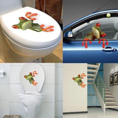 Sedeta® 3D Stereo Netter Frosch Funny Car Wc Wandaufkleber Abnehmbare wasserdichte Aufkleber Vinyl Art Home Schlafzimmer Badezimmer Dekor hohe Qualität