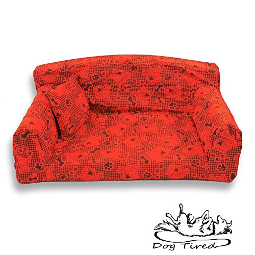Dog Tired Red – Pet Sofa. Trendy 3 sizes Dog bed. Modern cover material. Made in UK (Large 96 x 64 x 34 cm)