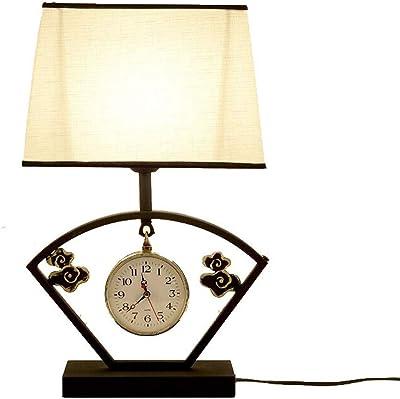 Lampe de table WHQ à LED pour Le Soin des Yeux , Nouvelle créatrice Chinoise rétro avec Une Horloge décorative pour Chambre à Coucher/Chevet/Salon, etc. QD (Color : A)