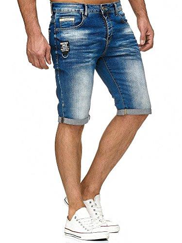 Red Bridge Herren Jeans Short Kurze Hose Denim Side Patch Chain Blau Blau W30