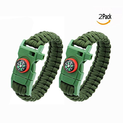 OFKPO 2 pcs Multifonctionnel Paracord Bracelet, Outdoor Survival Kit Parachute Cord Buckle avec Boussole Scraper Whistle, Corde de Survie d'Urgence