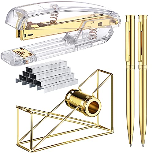 Gold Stapler and Tape Dispenser Set Include Gold Acrylic Stapler with 1000 Pieces Staples Metal Wire Tape Dispenser 2 Pieces Metal Ballpoint Pens for Office Accessories Presents Idea