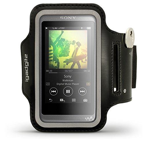 iGadgitz U6384 Reflektierenden Schwarz Sports Jogging Armband Laufen Fitness Oberarmtasche Kompatibel mit Sony Walkman NW-A35 NW-A40 NW-A45