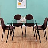 GOLDFAN Mesa de Comedor con 4 Sillas Mesa de Comedor de Vidrio Moderna Mesa de Cocina Rectangular Silla de Comedor de Terciopelo Silla de Cocina con Patas de Metal, Negro & Marrón