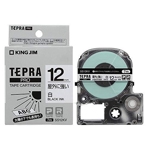 テプラ PRO用テープカートリッジ 屋外に強いラベル 白 SS12KV [黒文字 12mm×7m]