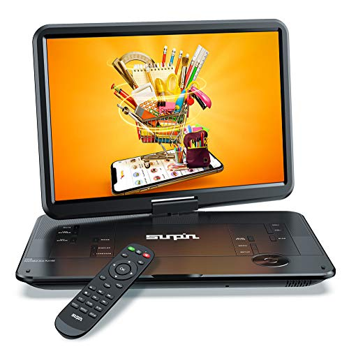 """SUNPIN Portable DVD Player 17.9"""" with Large HD Swivel Screen, 6 Hours Rechargeable Battery, Anti-Shocking, Resume Play, Support AV in&Out/USB/SD Card, Region-Free, Remote Controller, Black"""