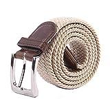 Yangbaga Cinturon elastico hombre, Cinturon Trenzado, Unisex Hombres Mujeres Casual Tejido (105-112cm) (Beige)
