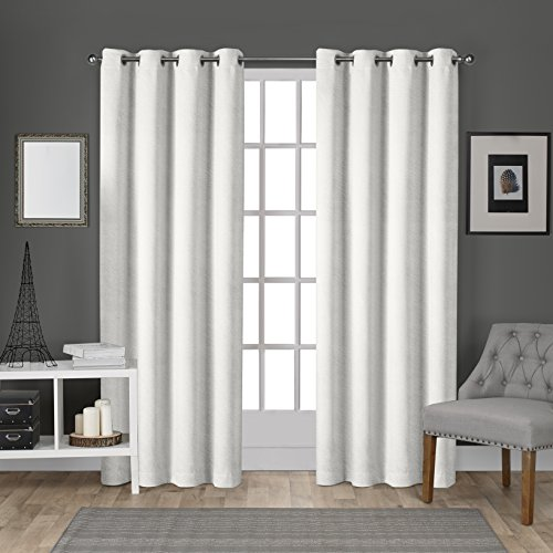Exclusive Home Curtains EH8195-01 2-96G Velvet Heavyweight Grommet Top Curtain Panel Pair, 54x96, Winter White, 2 Count