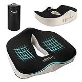 Cojin Coxis de Espuma Memoria - Feagar Cojines para sillas de Oficina, Cojín para Coche, Sillas Gaming, Rueda, Funda Lavable, Negro