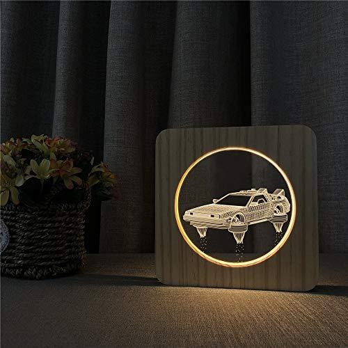 Super Wheels Auto 3D LED Arylic Holz Nachttischlampe Tisch Nachtlicht Carving Tischlampe Kinder Geschenkraum Dekorieren